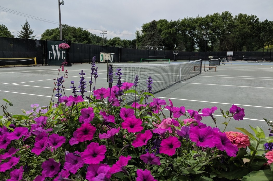 Tennis Court with flowers